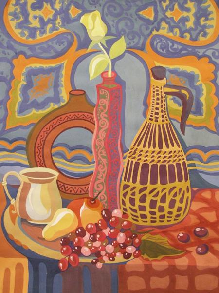 ДХШ Дипломные работы  Декоративный натюрморт с виноградом 2012 г Гуашь преп Онуприенко Т М