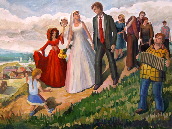 ДХШ Дипломные работы   Деревенская свадьба 2013 г Гуашь преп Трофимова Е А
