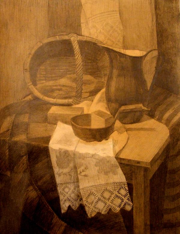 ДХШ Дипломные работы  Натюрморт прачки 2013 г Карандаш тонированная бумага преп Трофимова Е А