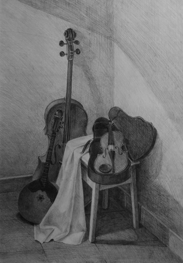 ДХШ Дипломные работы  Натюрморт с музыкальными инструментами 2014 г Акварель преп Дятлова И В
