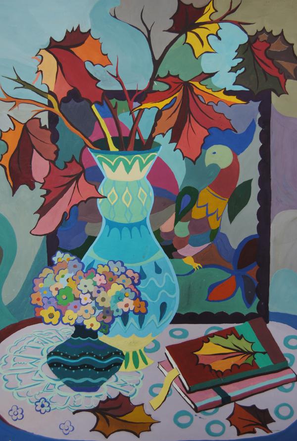 ДХШ Дипломные работы   Декоративный натюрморт к чаю 2015 г Гуашь преп Павлова Н В